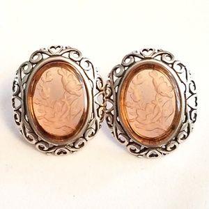 JZ Vintage Sterling Amber Flower Intaglio Earrings
